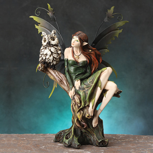 FAIRY WITH OWL- GREEN