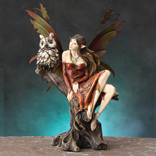 FAIRY WITH OWL- RED