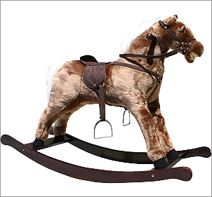 Large Brown plush rocking horse