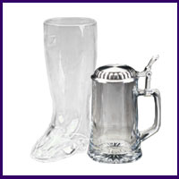 Glass Steins, Boots & Beer Glasses